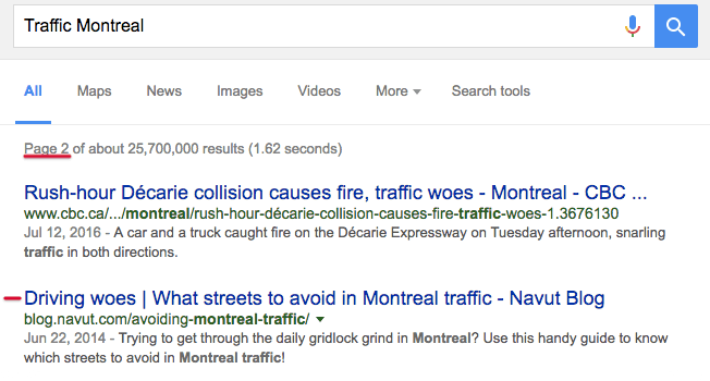 SEO Keywords For Navut startup on Traffic Montreal