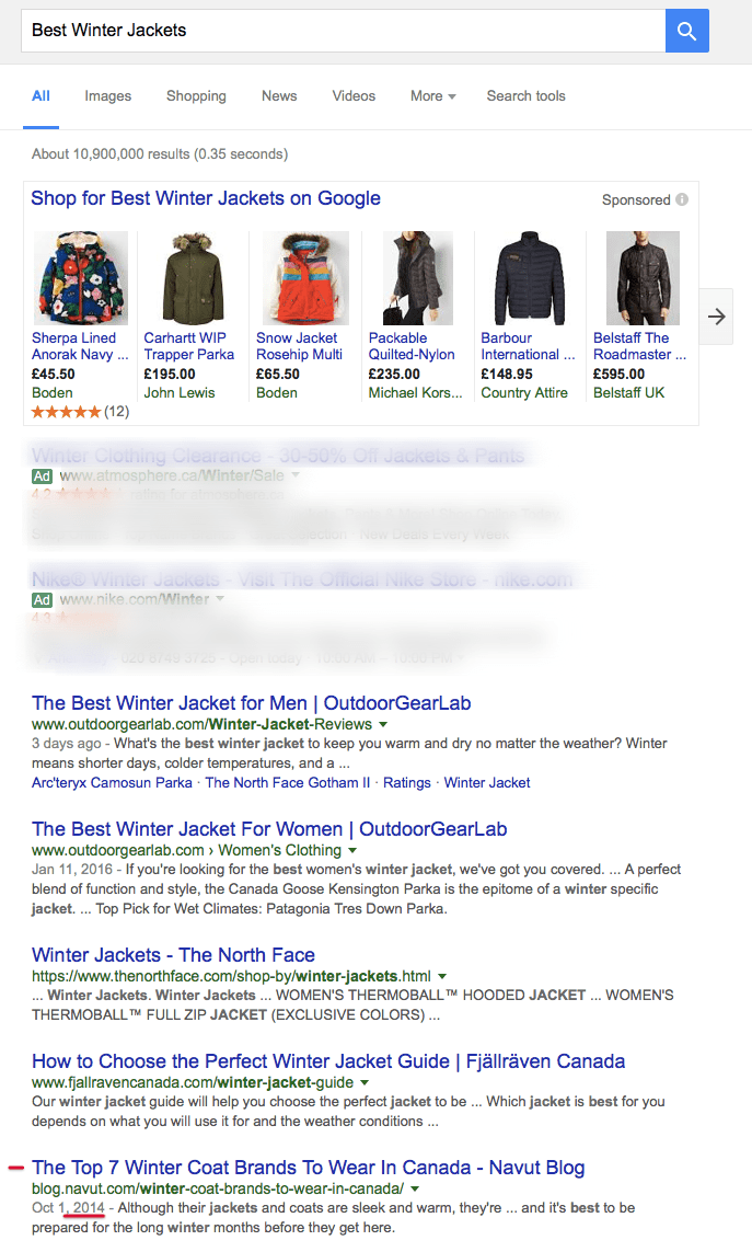 SEO Keywords For Navut startup on Best Winter Jackets